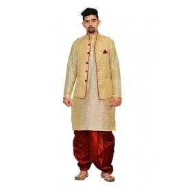 Amg Men's Silk Dark Gold Waiscoat,multi Dupin Kurta,maroon Dhoti Set_amg-2125