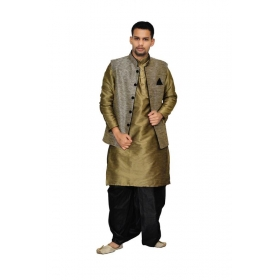 Amg Men's Silk Black Waiscoat,coper Gold Kurta,black Dhoti Set_amg-2126