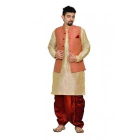 Amg Men's Silk Pink Waiscoat,multi Dupin Kurta,maroon Dhoti Set_amg-2128