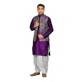 Amg Men's Silk Blue Gold Waiscoat,voilet Kurta,white Dhoti Set_amg-2129
