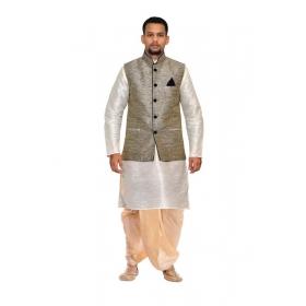 Amg Men's Silk Black Waiscoat,white Kurta,gold Dhoti Set_amg-2141