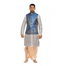 Amg Men's Silk Royal Blue Waiscoat,white Kurta Gold Dhoti Set_amg-2151
