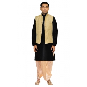 Amg Men's Silk Gold Waiscoat,black Kurta,gold Dhoti Set_amg-2157