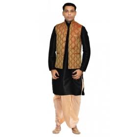 Amg Men's Silk Maroon Gold Waiscoat,black Kurta,gold Dhoti Set_amg-2160