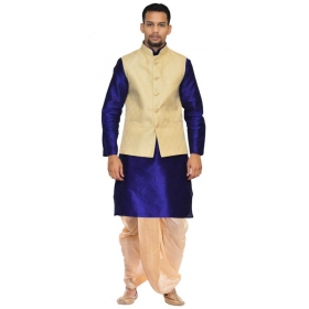 Amg Men's Silk Cream Waiscoat,royal Blue Kurta,gold Dhoti Set_amg-2178