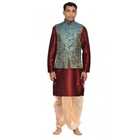 Amg Men's Silk Green Gold Waiscoat,red Kurta,gold Dhoti Set_amg-2179