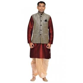 Amg Men's Silk Black Waiscoat,maroon Kurta Gold Dhoti Set_amg-2180