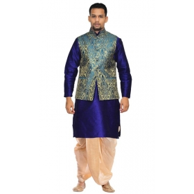Amg Men's Silk Green Gold Waiscoat,royel Blue Kurta,gold Dhoti Set_amg-2181