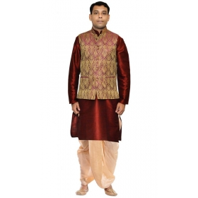 Amg Men's Silk Voilet Gold Waiscoat,maroon Kurta,gold Dhoti Set_amg-2184
