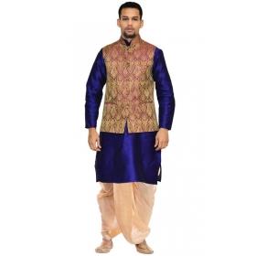 Amg Men's Silk Voilet Gold Waiscoat,blue Kurta,gold Dhoti Set_amg-2188