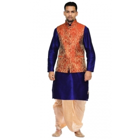 Amg Men's Silk  Red Gold Waiscoat,third Blue Kurta,gold Dhoti Set_amg-2196