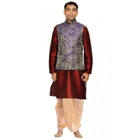 Amg Men's Silk  Blue Waiscoat,red Kurta,gold Dhoti Set_amg-2197