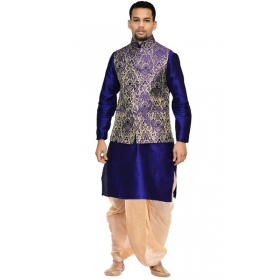 Amg Men's Silk  Blue Waiscoat, Navy Blue Kurta,gold Dhoti Set_amg-2199