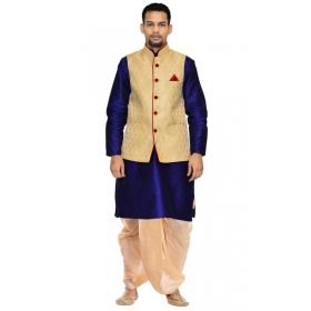 Amg Men's Silk  Dark Gold Waiscoat,royal Blue Kurta,gold Dhoti Set_amg-2200