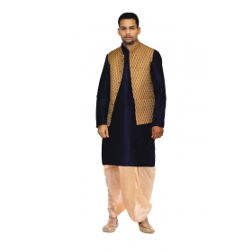 Amg Men's Silk Coper Gold Waiscoat,dark Blue Kurta,gold Dhoti Set_amg-2223