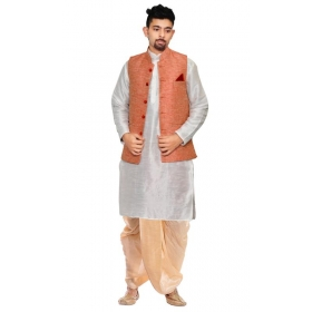 Amg Men's Silk Pink Waiscoat,white Kurta,gold Dhoti Set_amg-2225