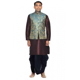 Amg Men's Silk Green Gold Waiscoat,voilet Kurta,d Blue Dhoti Set_amg-2232