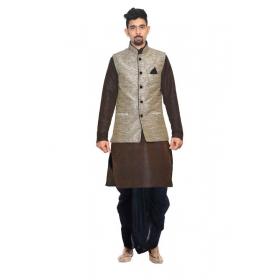 Amg Men's Silk Black Waiscoat,brown Kurta,black Dhoti Set_amg-2233