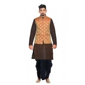 Amg Men's Silk Maroon Gold Waiscoat,brown Kurta,d. Blue Dhoti Set_amg-2241