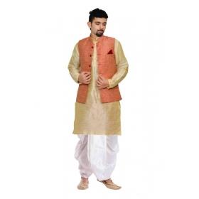 Amg Men's Silk Pink Waiscoat,gold Kurta,white Dhoti Set_amg-2258