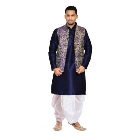 Amg Men's Silk Blue Waiscoat,blue Kurta,white Dhoti Set_amg-2266