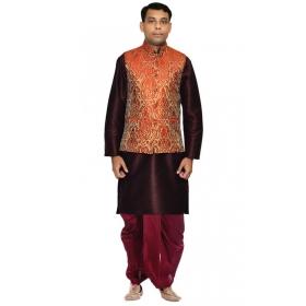 Amg Men's Silk Red Gold Waiscoat,voilet Kurta,maroon Dhoti Set_amg-2271