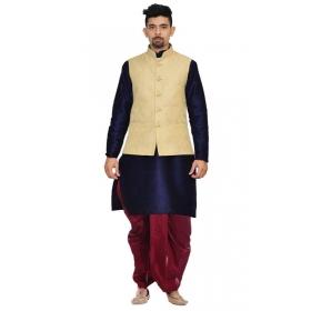 Amg Men's Silk Gold Waiscoat,navy Blue Kurta,maroon Dhoti Set_amg-2274