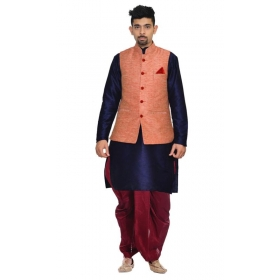 Amg Men's Silk Pink Waiscoat,navy Blue Kurta,maroon Dhoti Set_amg-2277