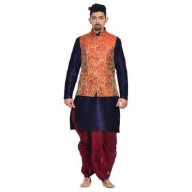 Amg Men's Silk Red Gold Waiscoat,navy Blue Kurta,maroon Dhoti Set_amg-2278
