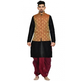 Amg Men's Silk Maroon Gold Waiscoat,black Kurta,maroon Dhoti Set_amg-2282