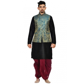 Amg Men's Silk Green Gold Waiscoat,black Kurta,maroon Dhoti Set_amg-2291