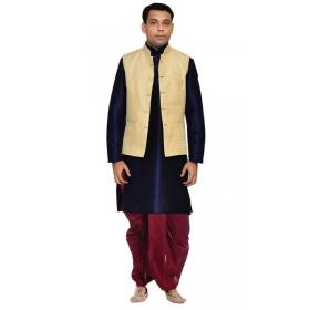 Amg Men's Silk Gold Waiscoat,navy Blue Kurta,maroon Dhoti Set_amg-2292