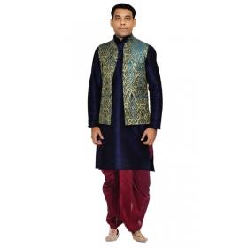Amg Men's Silk Green Gold Waiscoat,navy Blue Kurta,maroon Dhoti Set_amg-2295