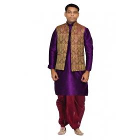 Amg Men's Silk Voilet Gold Waiscoat,purple Kurta,maroon Dhoti Set_amg-2299