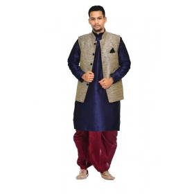 Amg Men's Silk Black Waiscoat,dark Blue Kurta,maroon Dhoti Set_amg-2306