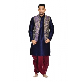 Amg Men's Silk Blue Waiscoat,navy Blue Kurta,maroon Dhoti Set_amg-2308