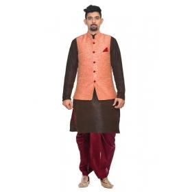 Amg Men's Silk Pink Waiscoat,purple Kurta,maroon Dhoti Set_amg-2311