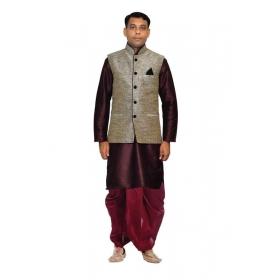 Amg Men's Silk Black Waiscoat,purple Kurta,maroon Dhoti Set_amg-2319
