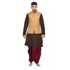 Amg Men's Silk Coper Gold Waiscoat,brown Kurta, Maroon Dhoti Set_amg-2325