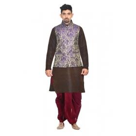 Amg Men's Silk Blue Waiscoat,brown Kurta, Maroon Dhoti Set_amg-2327