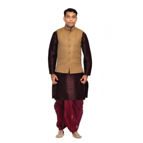 Amg Men's Silk Coper Gold Waiscoat,purple Kurta, Maroon Dhoti Set_amg-2328