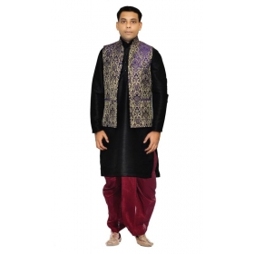Amg Men's Silk Blue Waiscoat,black Kurta,maroon Dhoti Set_amg-2337