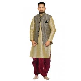 Amg Men's Silkblack Waiscoat,coper Gold Kurta,red Dhoti Set_amg-2338