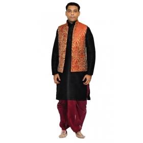 Amg Men's Silk Red Gold Waiscoat,black Kurta,maroon Dhoti Set_amg-2340