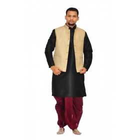 Amg Men's Silk Gold Waiscoat,black Kurta,maroon Dhoti Set_amg-2350