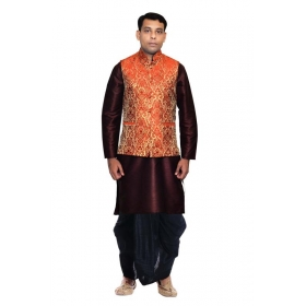 Amg Men's Silk Red Gold Waiscoat,voilet Kurta,black Dhoti Set_amg-2351