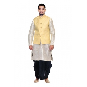 Amg Men's Silk Cream Waiscoat,white  Kurta,black Dhoti Set_amg-2352