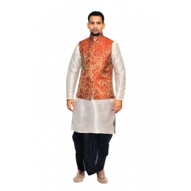 Amg Men's Silk Red Gold Waiscoat,white Kurta,black Dhoti Set_amg-2355