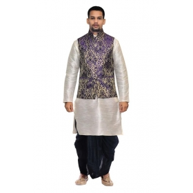 Amg Men's Silk Blue Waiscoat,voilet Kurta,maroon Dhoti Set_amg-2360