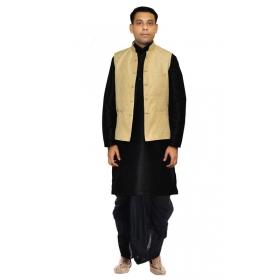 Amg Men's Silk Gold Waiscoat,black Kurta,black Dhoti Set_amg-2369